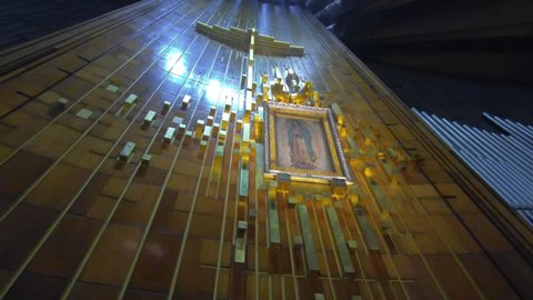 MEXICO CITY, Mexico City, Mexico, November 31, 2018 : Painting of the Guadalupe Virgin at Guadalupe Cathedral in slow motion