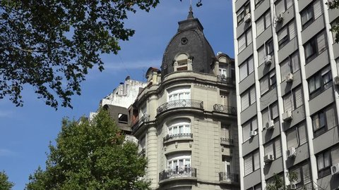 Buenos Aires, - FEBRUARY 25: Top turret of the Mundial Hotel building.  February 25, 2018 in Buenos Aires, Argentina