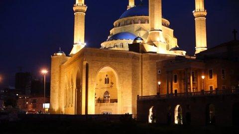 Night view/'Mohammad al Amin' Mosque/ Beirut, Lebanon