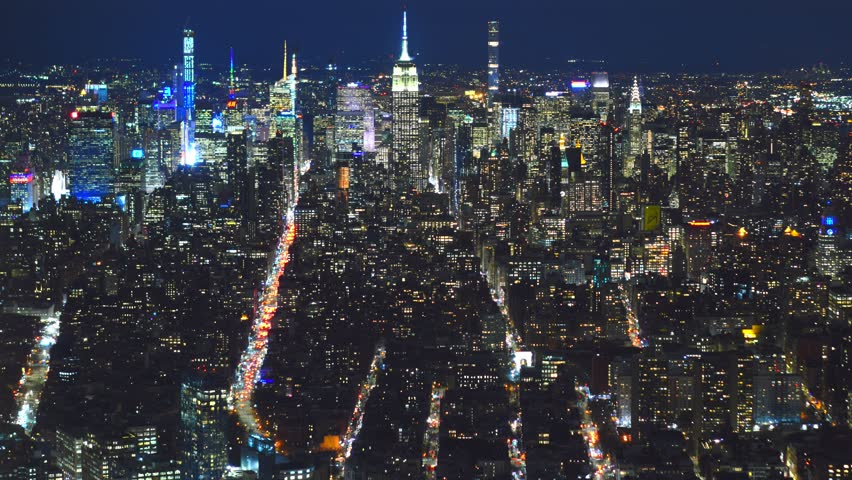New York city 4K time lapse midtown by night  | Shutterstock HD Video #1021026502