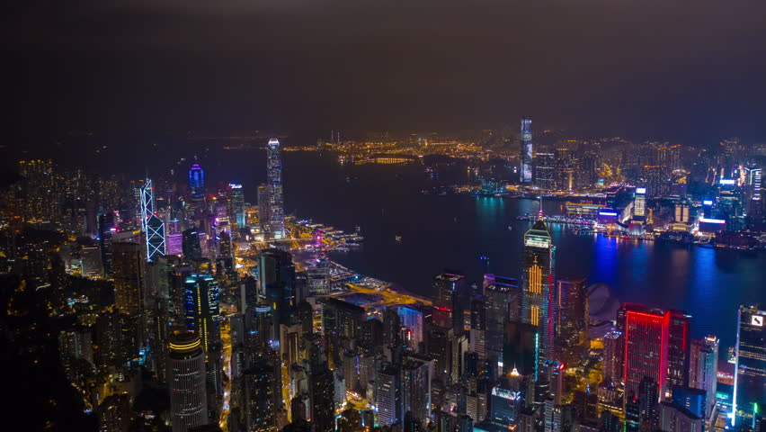 HONG KONG - OCTOBER 5 2018: night illumination famous harbor cityscape aerial timelapse panorama 4k circa october 5 2018 hong kong. | Shutterstock HD Video #1021033552