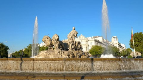 Fountain of the goddess Cibeles, one of the main monuments in the center of Madrid, Spain