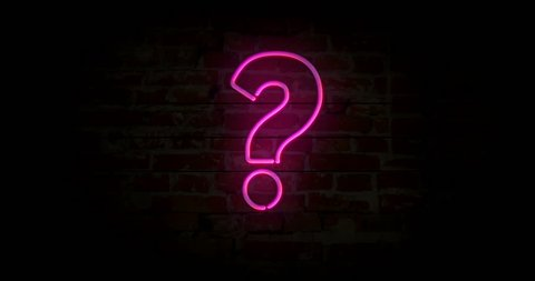 Question mark neon sign light on brick wall background. Glowing large illuminated advertisement in looped concept animation. Retro style.