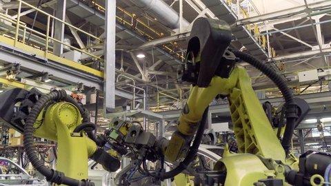 Izhevsk, Russia - December 15 2018: Automotive industry, Robots on Assembly line production of new LADA car at Automobile Factory AVTOVAZ on December 15, 2018 in Izhevsk