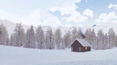 Dreamlike winter scenery - cozy solitary log hut with smoking chimney among snow covered spruce forest high in alpine mountains at dusk during snowfall. With no people 3D animation rendered in 4K