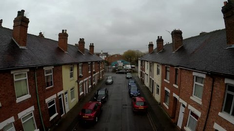 Fenton, Stoke on Trent, Staffordshire - 21st December 2018 - Aerial footage of Oldfield Street in one of Stoke on Trents poorer areas, Terrace housing, poverty and urban decline, No 2 of 7