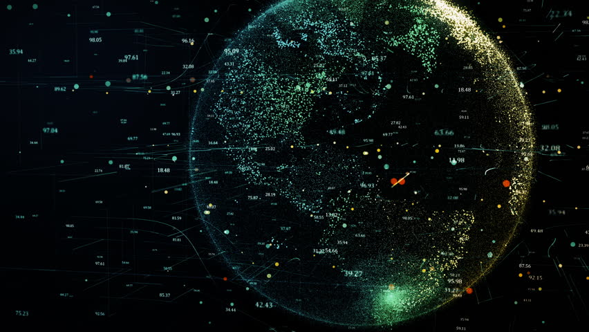 3D animation of green planet Earth in the global futuristic cyber-network, connection lines around the globe.    Shutterstock HD Video #1021337302