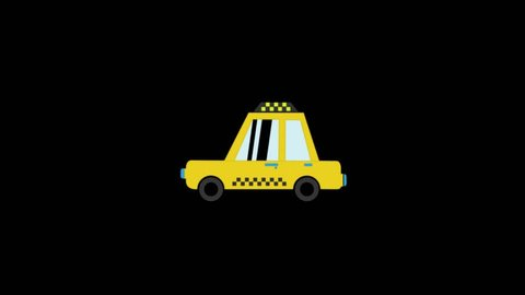 Taxi icon animation with black background. Icon design. Video Animation. 4K.