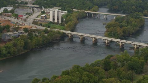 South Carolina Columbia Aerial Panning around Congaree River with bridges 10/17