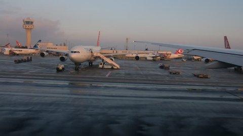 Istanbul, Turkey- December 21, 2018: Ataturk Airport, Turkey. CIRCA : Tracking Shot on Runway, Ataturk Airport.