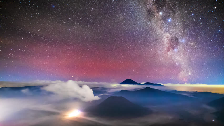 4K Timelapse of Milkyway over Bromo volcano, East Java, Indonesia | Shutterstock HD Video #1021514362