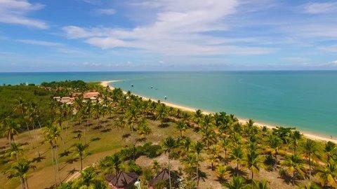Aerial view of Corumbau beach in Caraíva, Porto Seguro, Bahia, Brazil. Great beach scene. Fantastic landscape. Vacation travel. Travel destination. Vacation concept.