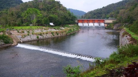 4K video of Kiew Lom dam, Thailand.