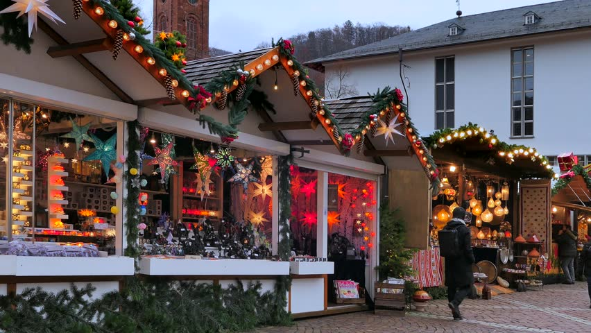 Christmas market at the University square in the old town of Heidelberg, Heidelberg, Baden-Wurttemberg, Germany, Europe, 11. December 2018 | Shutterstock HD Video #1021623682