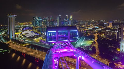 MARINA BAY, SINGAPORE - NOVEMBER 2016: Time lapse of Marina Bay Singapore aerial view with motion. Prores 1080p.