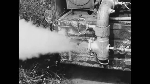 CIRCA 1940s - An insecticidal fog is sprayed in a park and downtown and a stream is treated with DDT as well as a house.