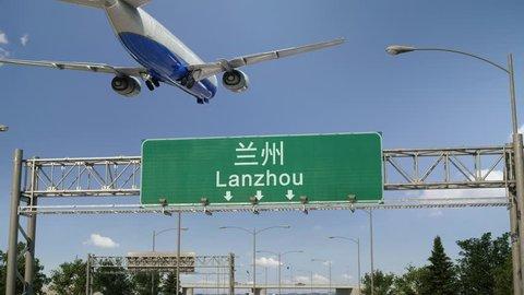 Airplane Landing at Lanzhou