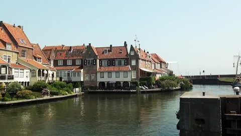 Dromedaris tower and the drawbridge are part of the citywall in Enkhuizen in the Netherlands.