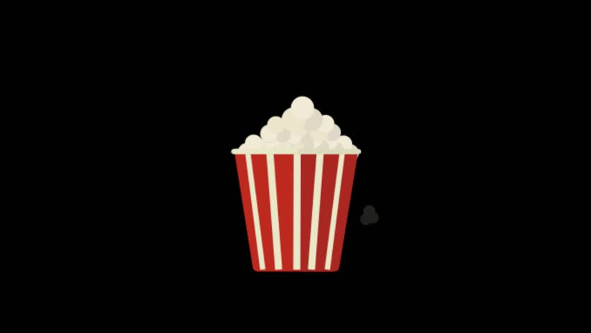 Pop Corn icon animation with black background. Icon design. Video Animation. 4K.