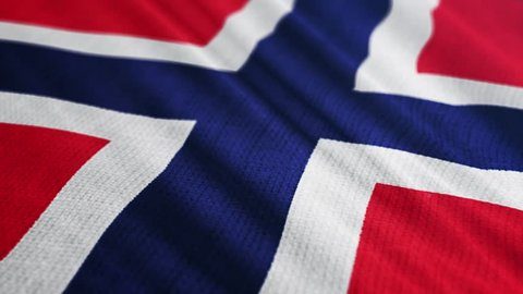 Norway flag is waving 3D illustration. Symbol of Norwegian national on fabric cloth 3D rendering in full perspective.