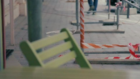 Cityscape. Restrictive tape.