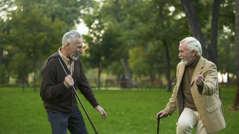 Male pensioners dancing park with walking sticks, friendship humor, having fun