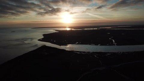 suffolk coast sunset drone