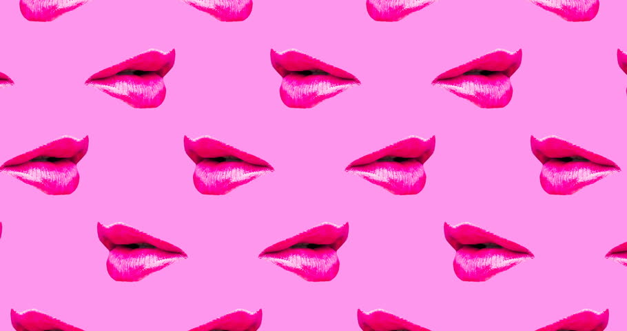 Motion seamless pattern design. Lips and Kiss concept | Shutterstock HD Video #1021996462