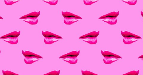 Motion seamless pattern design. Lips and Kiss concept
