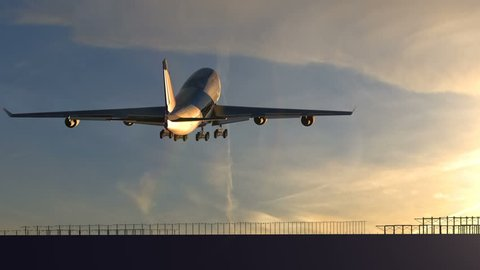 Large passenger airplane taking off against beautiful sunset