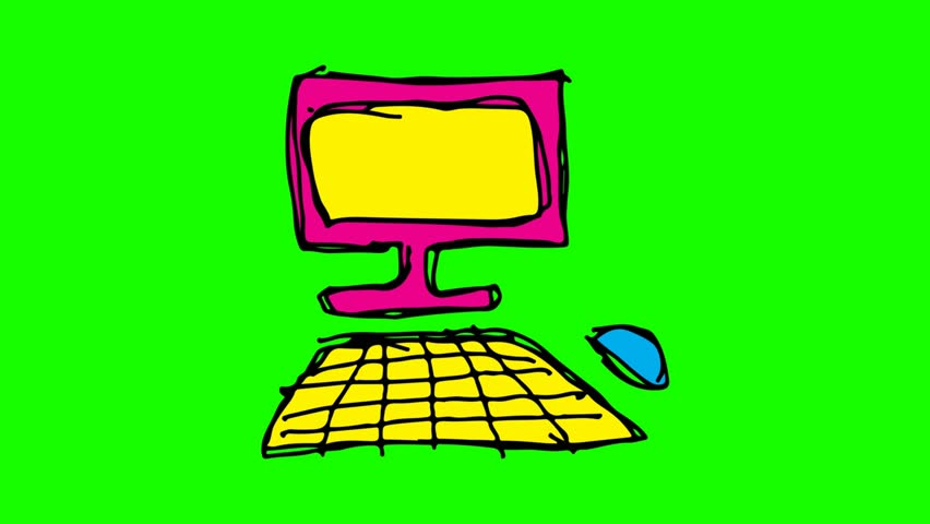 Kids drawing green screen with theme of computer | Shutterstock HD Video #1022071522