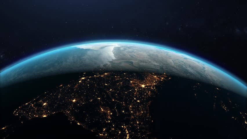 Flying over the planet earth in open space. The transition from night to day   Shutterstock HD Video #1022074132