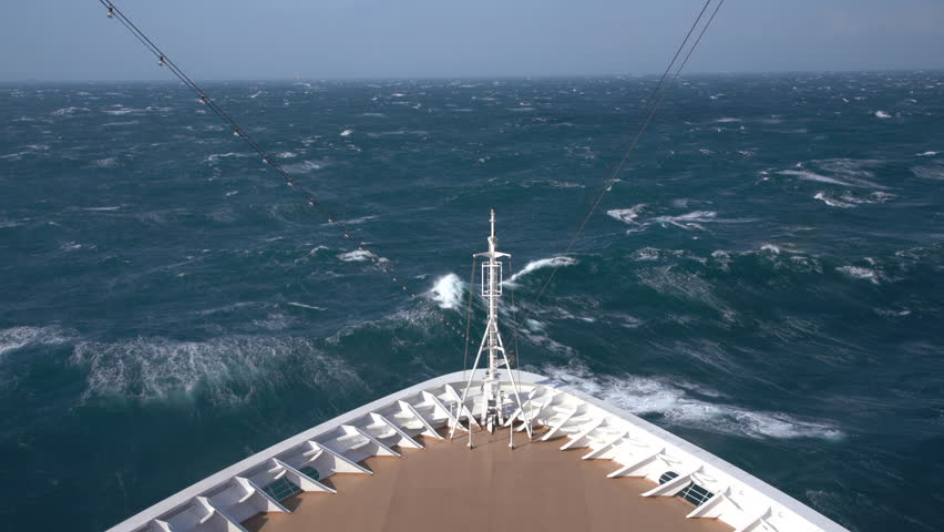 View down at the rough seas during a windy storm on a modern cruise ship in the ocean | Shutterstock HD Video #1022102482