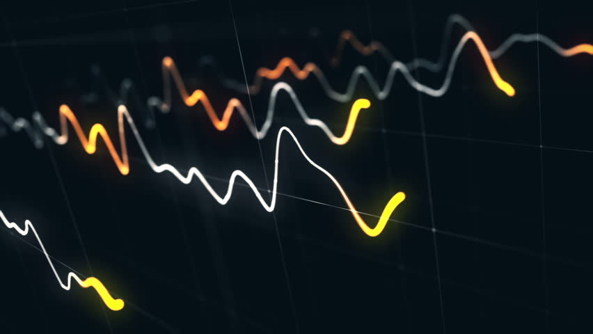 Animation growth of abstract charts with changing values of check points on dark background. Animation of seamless loop.   Shutterstock HD Video #1022110402
