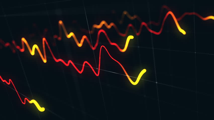 Animation growth of abstract charts with changing values of check points on dark background. Animation of seamless loop.   Shutterstock HD Video #1022110582