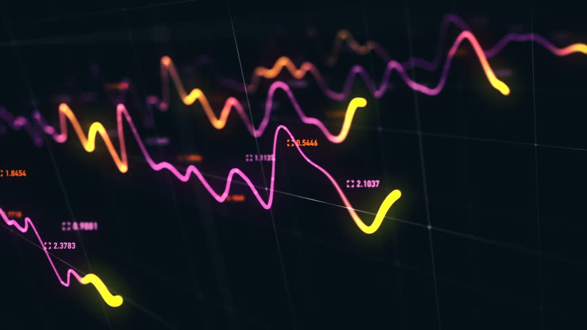Animation growth of abstract charts with changing values of check points on dark background. Animation of seamless loop.   Shutterstock HD Video #1022110672