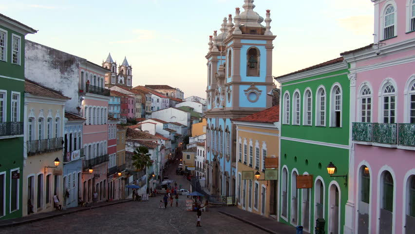 Salvador da Bahia, Brazil, aerial view of the historical district of Pelourinho showing colourful colonial buildings at twilight. Dolly right.  | Shutterstock HD Video #1022115952