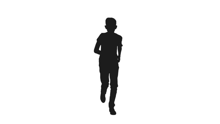 Silhouette of Teen Boy Running Stock Footage Video (100% ...