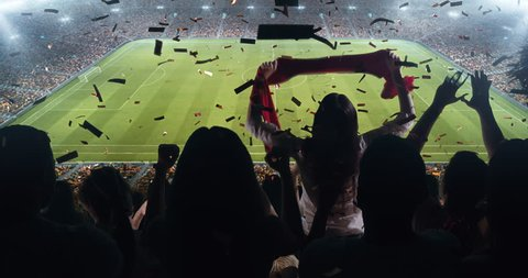 Fans celebrating the success of their favorite sports team on the stands of the professional stadium. Stadium is made in 3D and animated.