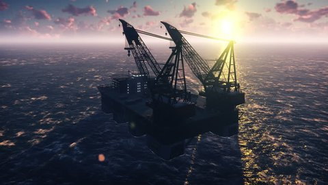 Oil platform, offshore platform, or offshore drilling rig in sea at sunset. Realistic cinematic animation.