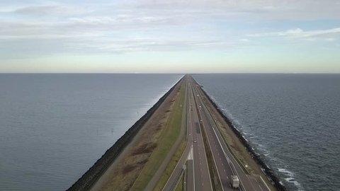 4K UHD Aerial Drone footage from Netherlands Holland Major Dam Causeway Afsluitdijk
