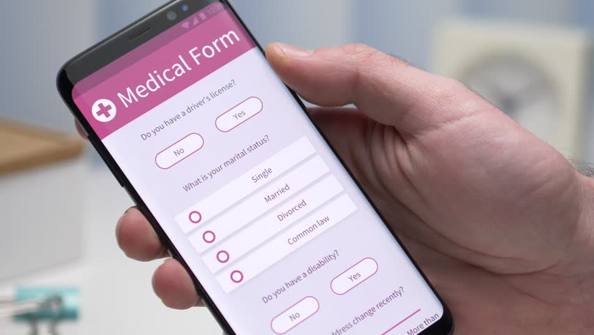 User filling a medical form on his smartphone screen. Closeup on the device. | Shutterstock HD Video #1022334892