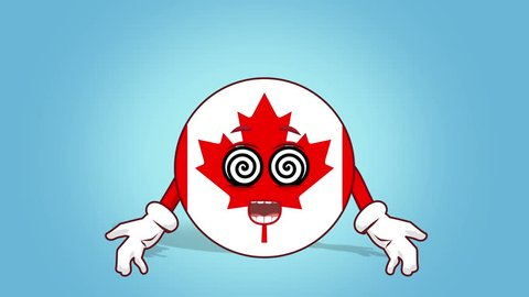 Cartoon Icon Flag Canada Hypnosis with Face Animation with Alpha Matte