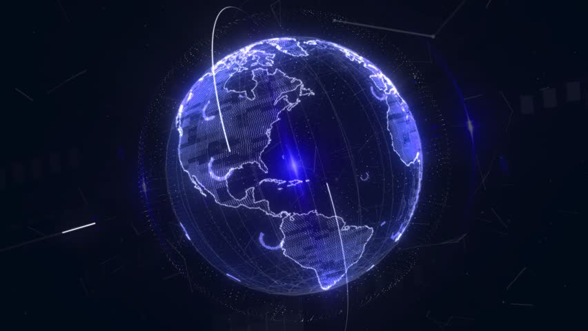 4k 3d animation. World map point, line, composition, representing the global, Global network connection, international data exchange over planet earth in space. Connection lines Around Earth Globe