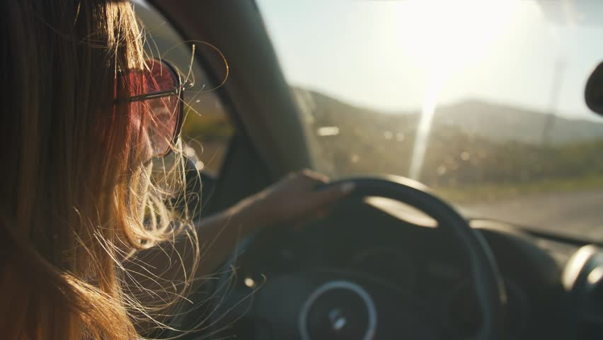 Woman drive convertible car | Shutterstock HD Video #1022439292