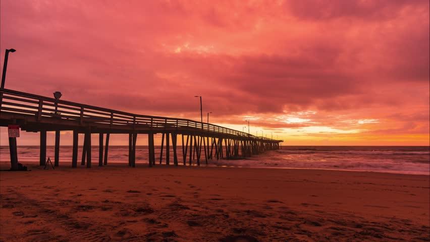 Sunrise at the Virginia Beach Fishing Pier.