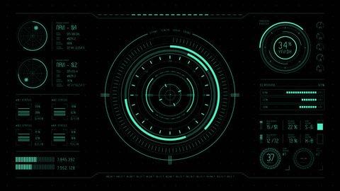 HUD 4K + ALPHA - Track Control Panel.  Hi-tech futuristic display. Tech and science, analysis theme. Infographic elements: graph, waves, arrow, bar regulator, circle, percent.