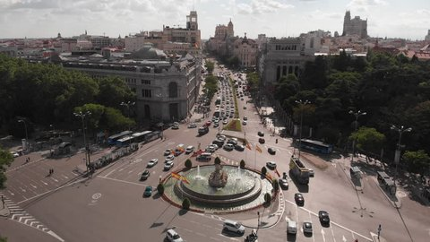 Aerial view from Cibeles Square, Madrid, Spain