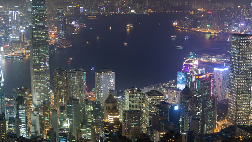 Hong Kong skyline urban panorama at night time lapse China. zoom out | Shutterstock HD Video #1022631352
