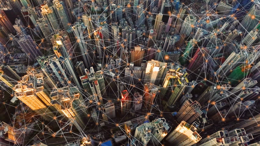 Digital network connection lines of Hong Kong Downtown. Financial district and business centers in smart city in technology concept. Top view of skyscraper and high-rise buildings. Aerial view | Shutterstock HD Video #1022641672